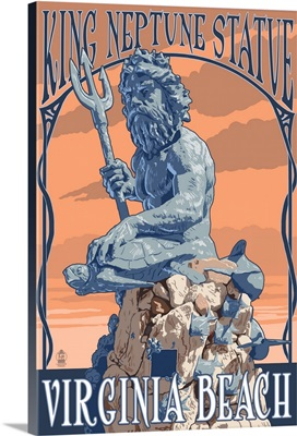 Virginia Beach, Virginia - King Neptune Statue: Retro Travel Poster