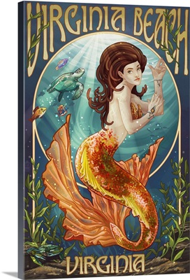 Virginia Beach, Virginia - Mermaid: Retro Travel Poster
