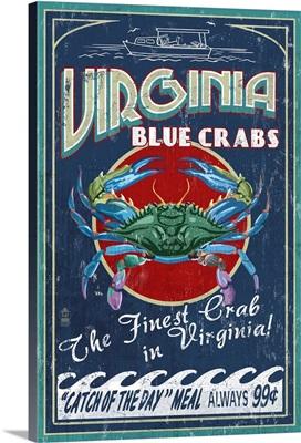 Virginia Blue Crabs Vintage Sign: Retro Travel Poster