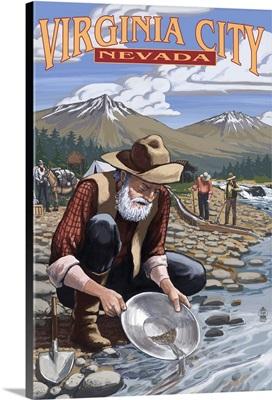 Virginia City, Nevada - Gold Panner: Retro Travel Poster