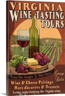 Virginia - Wine Vintage Sign: Retro Travel Poster