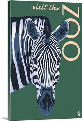Visit the Zoo - Zebra Profile: Retro Travel Poster