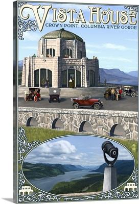 Vista House - Columbia Gorge, Oregon: Retro Travel Poster