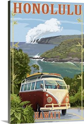 VW Van Coastal - Honolulu, Hawaii: Retro Travel Poster