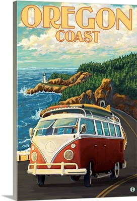 VW Van Cruising the Oregon Coast: Retro Travel Poster