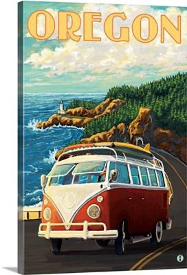 VW Van Cruising the Oregon: Retro Travel Poster