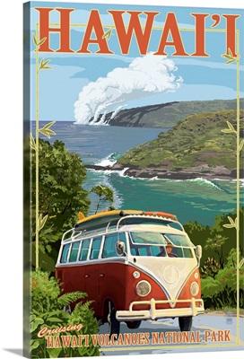 VW Van - Hawaii Volcanoes National Park: Retro Travel Poster