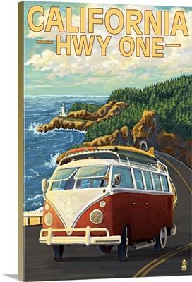 VW Van, Highway One, California Coast
