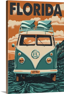 VW Van Letterpress - Florida: Retro Travel Poster