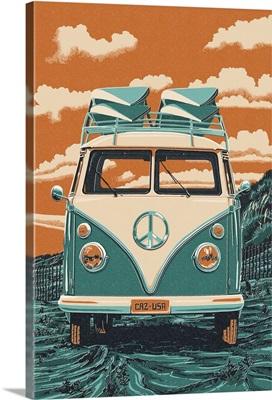 VW Van - Letterpress: Retro Art Poster