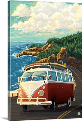 VW Van on Coast: Retro Poster Art