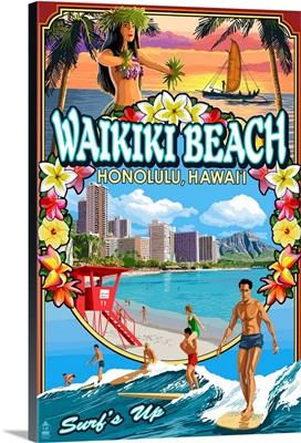 Waikiki Beach, Hawaii, Montage Scene