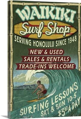 Waikiki Beach, Hawaii - Surf Shop Vintage Sign: Retro Travel Poster