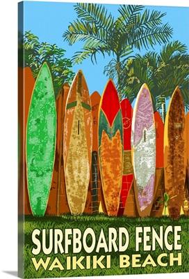 Waikiki Beach, Hawaii - Surfboard Fence: Retro Travel Poster