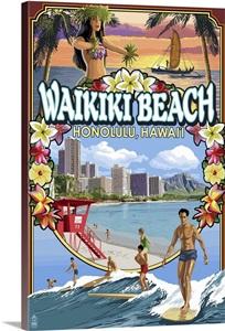 Waikiki Beach Oahu Hawaii Scenes Retro Travel Poster Wall Art Canvas Prints Framed Prints