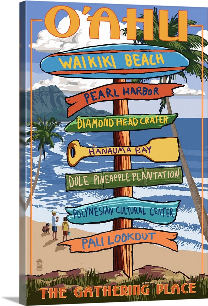 Hawaii waikiki Vintage painting art Travel Poster Print