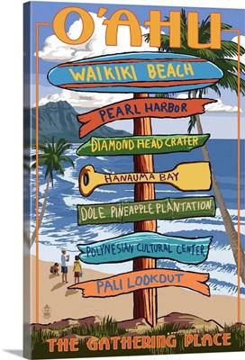 Waikiki Beach, Oahu, Hawaii - Sign Destinations: Retro Travel Poster