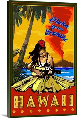 Waikiki, Hawaii: Retro Travel Poster