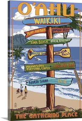 Waikiki, Oahu, Hawaii - Sign Destinations: Retro Travel Poster