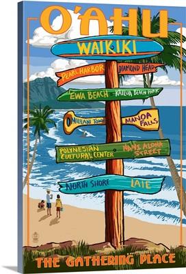 Waikiki, Oahu, Hawaii, Sign Destinations (with Nani Aloha Street)