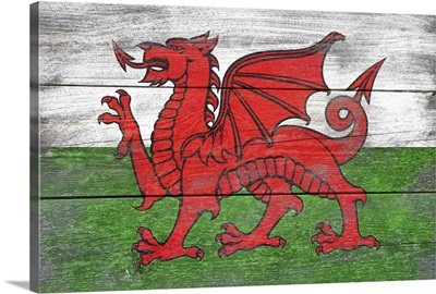Wales Country Flag on Wood