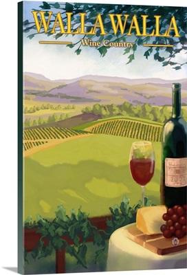 Walla Walla Wine Country: Retro Travel Poster