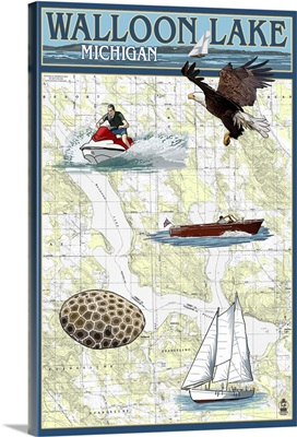 Walloon Lake, Michigan - Nautical Chart: Retro Travel Poster