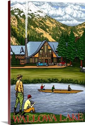 Wallowa Lake, OR - Lodge and Lake Scene: Retro Travel Poster
