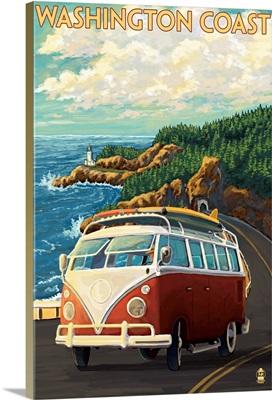 Washington Coast Drive w/ Lighthouse: Retro Travel Poster