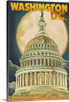 Washington, DC - Capitol Building and Moon: Retro Travel Poster