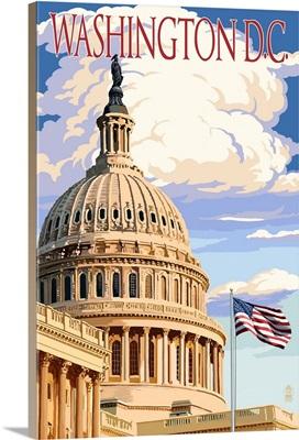 Washington, DC - Capitol Building: Retro Travel Poster
