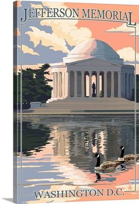 Washington, DC - Jefferson Memorial: Retro Travel Poster