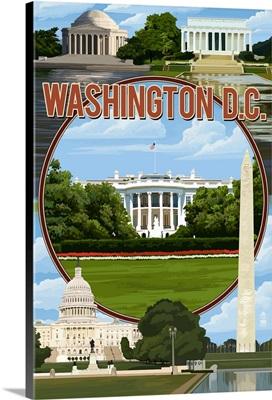 Washington, DC - Montage: Retro Travel Poster