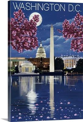 Washington, DC - Night Scene: Retro Travel Poster