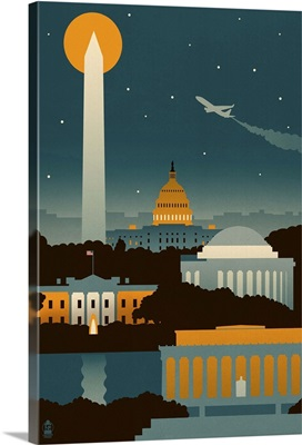 Washington, DC, Retro Skyline