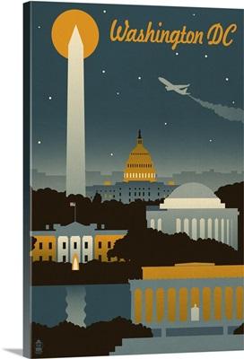 Washington, DC - Retro Skyline: Retro Travel Poster