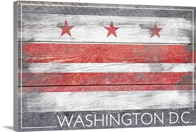 Washington DC State Flag on Wood