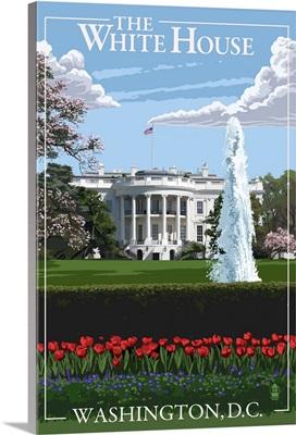 Washington, DC - White House: Retro Travel Poster