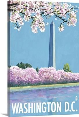 Washington Monument - Washington DC: Retro Travel Poster