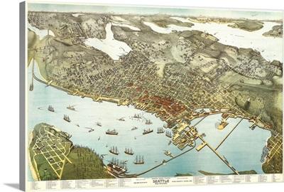 Washington, Panoramic Map of Seattle