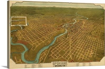 Washington, Panoramic Map of Spokane
