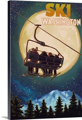 Washington - Ski Lift and Full Moon: Retro Travel Poster
