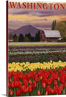 Washington - Tulip Fields: Retro Travel Poster