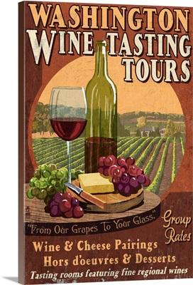 Washington Wine Tasting Vintage Sign: Retro Travel Poster