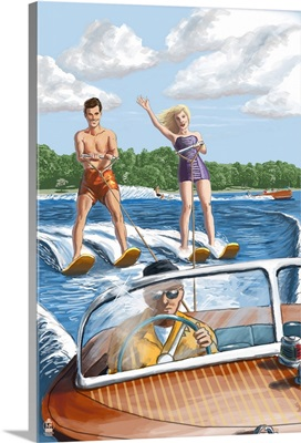 Water Skiing and Wooden Boat (Hill Background): Retro Poster Art