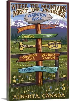 Waterton Lakes National Park, Canada - Sign Destination: Retro Travel Poster