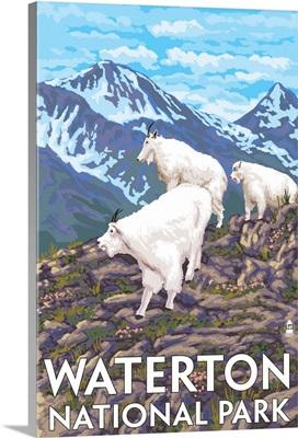Waterton National Park, Canada - Goat Family: Retro Travel Poster