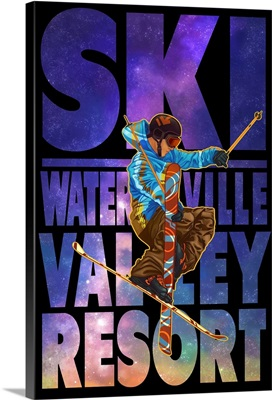 Waterville Valley Resort, NH - Milky Way Skier: Retro Travel Poster