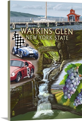 Watkins Glen, New York - Montage: Retro Travel Poster
