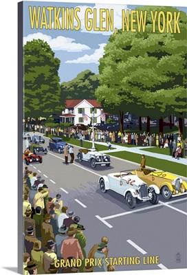 Watkins Glen State Park, New York - Grand Prix Starting Line: Retro Travel Poster